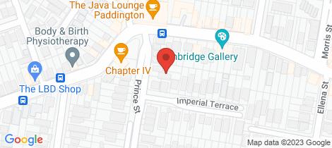 Location map for 65 Prince Street Paddington