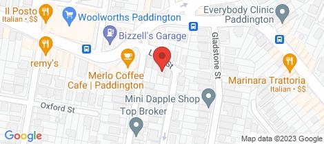 Location map for 5 Long Street Paddington