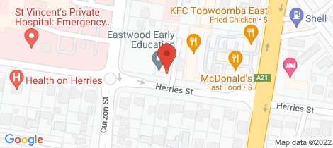 Location map for 1/21 Herries Street East Toowoomba