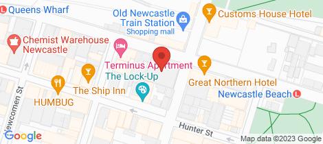 Location map for 502/6 Watt Street Newcastle