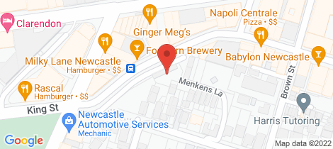 Location map for 3/199 King Street Newcastle