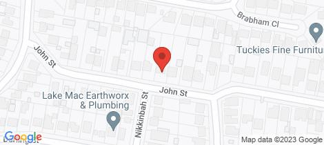 Location map for 57 John Street Belmont North