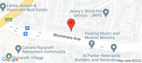 Location map for 225 Wommara Avenue Belmont North