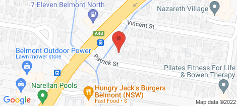 Location map for 45 Patrick Street Belmont North