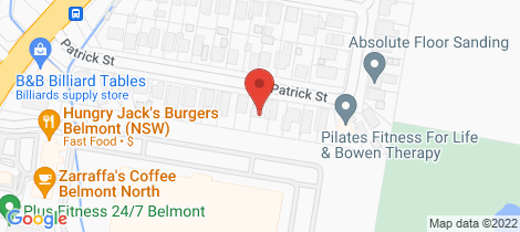 Location map for 32 Patrick Street Belmont North