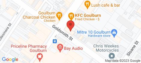 Location map for 253-255 Auburn Street Goulburn