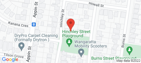 Location map for 12 Hinchley Street Wangaratta