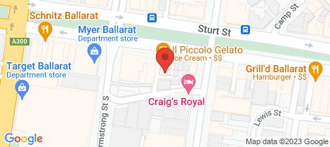 Location map for 215 Sturt Street Ballarat Central