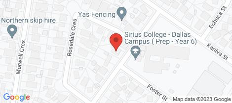 Location map for 29 Warragul Street Dallas