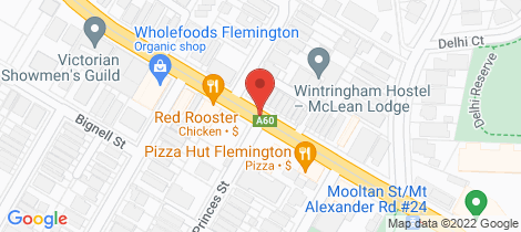 Location map for 126 Mt Alexander Rd Ascot Vale
