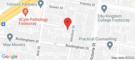Location map for 16 Windsor Street Footscray