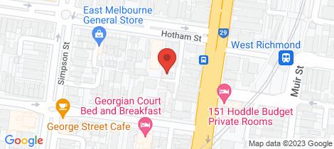 Location map for 23 Burchett Lane East Melbourne
