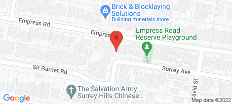 Location map for 1 Surrey Avenue Surrey Hills