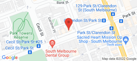 Location map for 276-278 Park Street South Melbourne