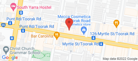 Location map for 206/57 Toorak Road South Yarra