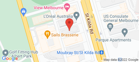 Location map for 312/566 St Kilda Road Melbourne