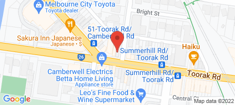 Location map for 1119 Toorak Road Camberwell