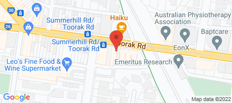 Location map for 1158 Toorak Road Camberwell