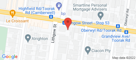 Location map for 1244 Toorak Road Camberwell