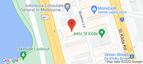 Location map for 408/74 Queens Road Melbourne