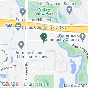 Google Map of 12720 Hillcrest Road, Dallas TX