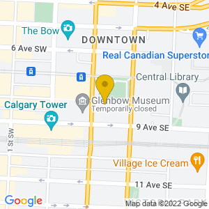 Map to EPCOR CENTRE for the Performing Arts provided by Google