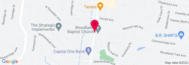 Map for Woodlawn Baptist Church