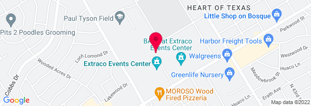Map for Heart o' Texas Fair Complex - Extraco Events Center