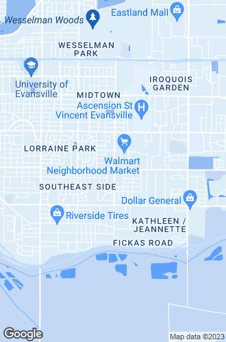 Map of Evansville
