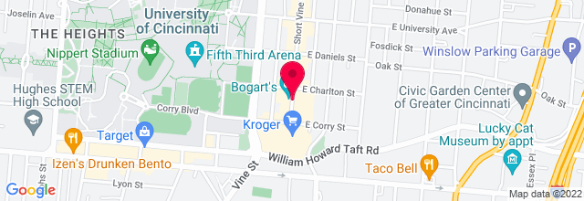 Map for Bogart's Cincinnati