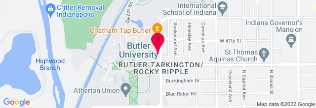 Map for Clowes Memorial Hall, Butler University
