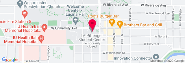 Map for Pruis Hall, Ball State University