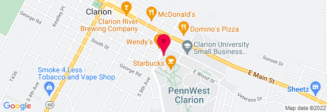 Map for Clarion University