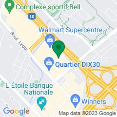 Localisation de la succursale de Valeurs mobilières Desjardins au Brossard sur la carte Google
