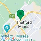 Localisation de la succursale de Valeurs mobilières Desjardins au Thetford Mines sur la carte Google