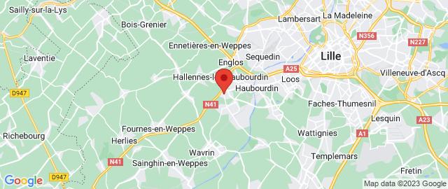 Carte Google Map de la vile de Hallennes-lez-Haubourdin