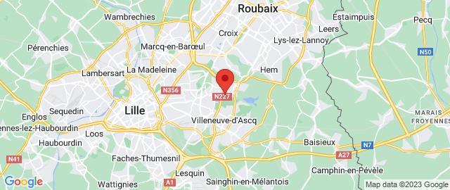Carte Google Map de la vile de Villeneuve-d'Ascq
