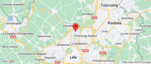 Carte Google Map de la vile de Marquette-lez-Lille
