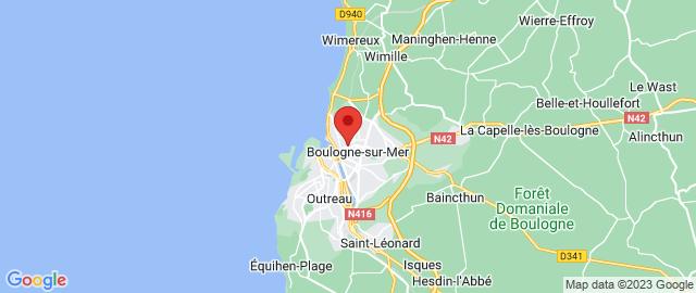 Carte Google Map de la vile de Boulogne-sur-Mer