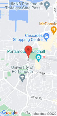 Map showing the location of the Portsmouth Anglesea Road monitoring site
