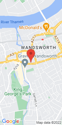 Map showing the location of the London Wandsworth [Closed] monitoring site