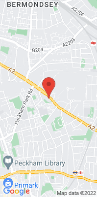 Map showing the location of the Southwark Roadside [Closed] monitoring site