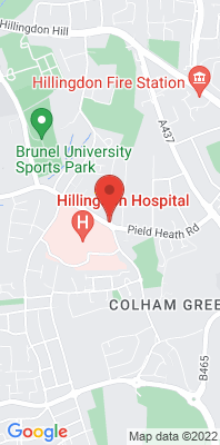 Map showing the location of the Hillingdon 2 - Hillingdon Hospital [Closed] monitoring site