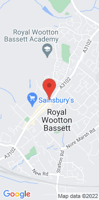Map showing the location of the Wootton Bassett High Street monitoring site