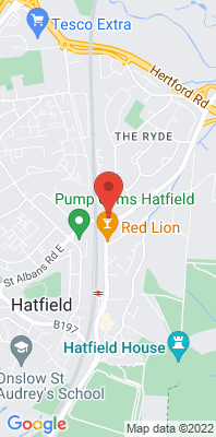 Map showing the location of the Welwyn Hatfield monitoring site