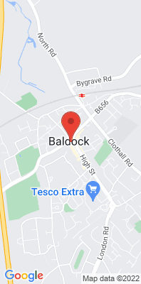 Map showing the location of the North Herts Baldock Roadside [Closed] monitoring site