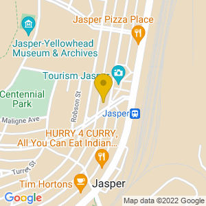 Map to Athabasca Hotel Jasper provided by Google
