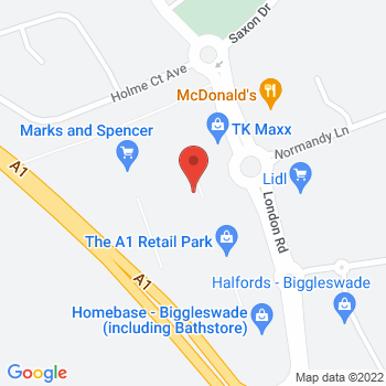 Halfords Biggleswade Location on map