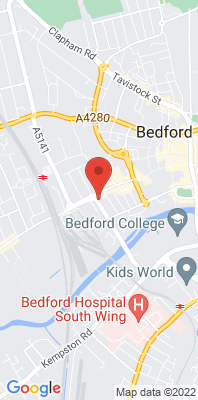 Map showing the location of the Bedford Prebend Street monitoring site