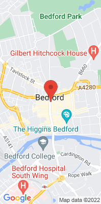 Map showing the location of the Bedford Lurke Street monitoring site